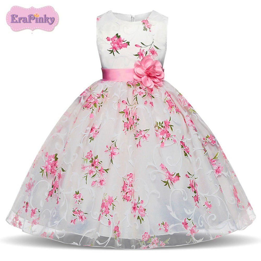 Floral Lace Mesh Girls Dress Formal Clothes Princess Dresses Party Children Wear