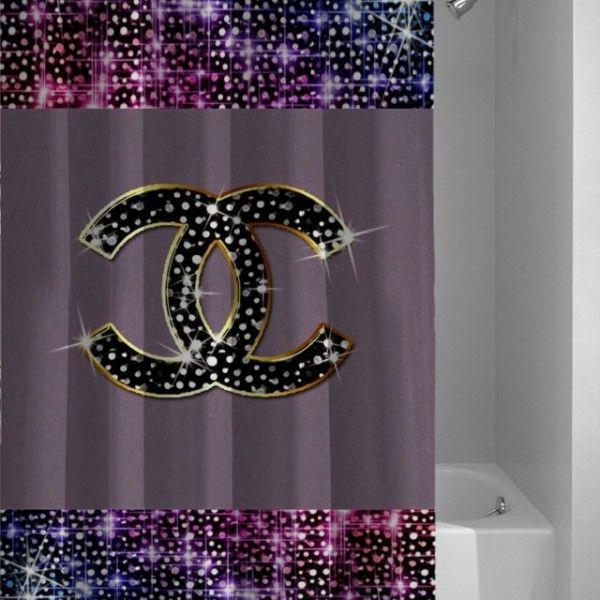 New Logo Chanel Glitter Printed Custom Best Design Shower Curtain Curtain Styles Curtains Shower Curtain