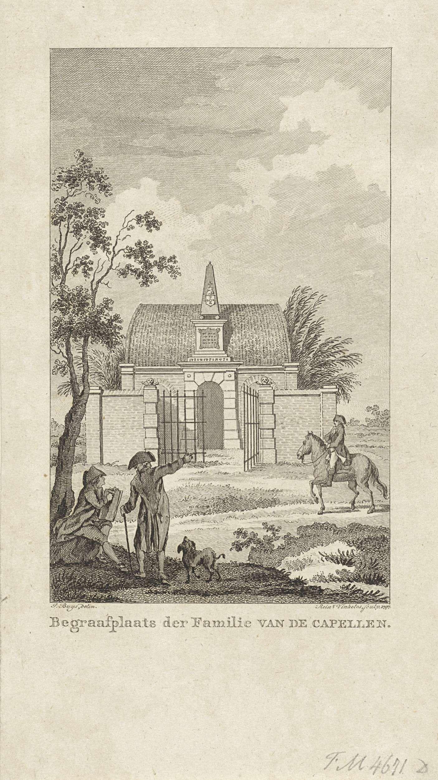 Reinier Vinkeles | Begraafplaats van de familie Van der Capellen, 1785, Reinier Vinkeles, 1797 | De begraafplaats van de familie Van der Capellen in het Gorsselse Veld bij Zutphen, gesticht in 1785 ter ere van de in 1784 overleden Joan Derk van der Capellen tot den Pol.