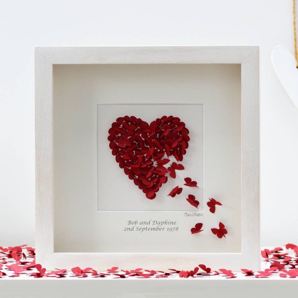 personalised ruby wedding anniversary wall art by inkywool butterfly art | notonthehighstreet.com