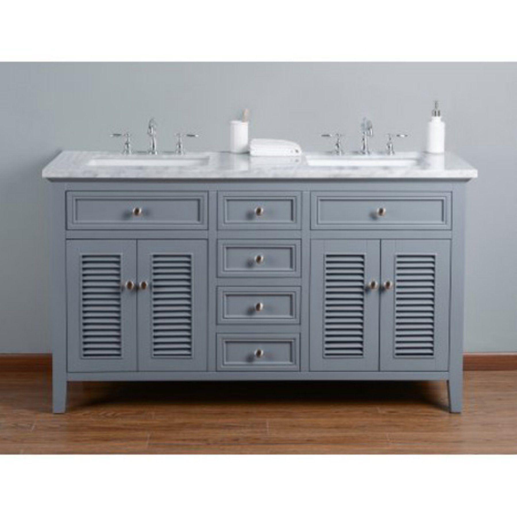 Double Sink Bathroom Vanity With Shutter Double Doors  75Cc039475D6426Dbf367Eb558D7Ef13