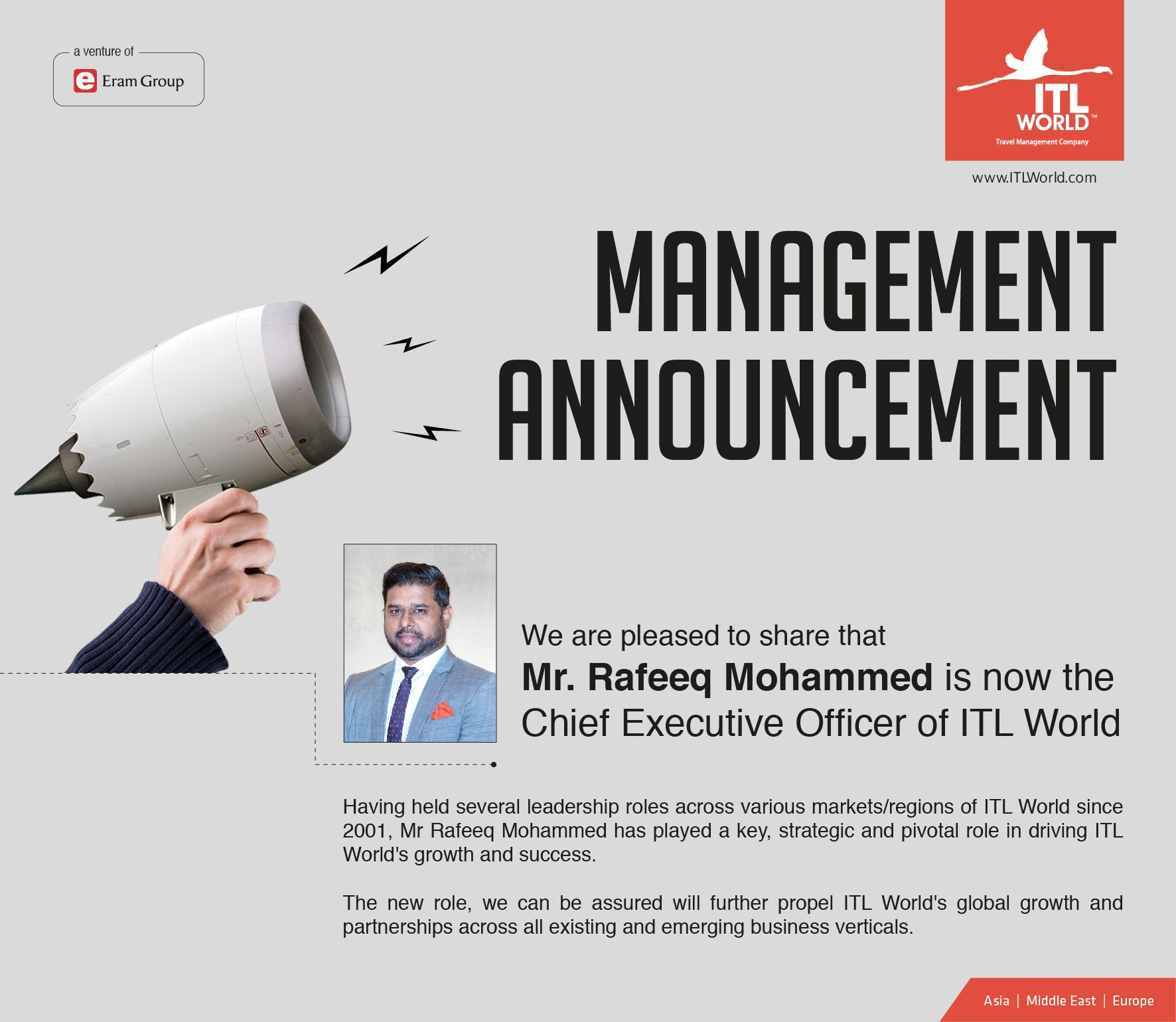 We are pleased to share that Mr  Rafeeq Mohammed is now the Chief
