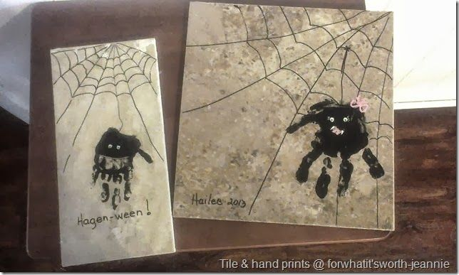 fall crafts with kids #tileart Halloween craft