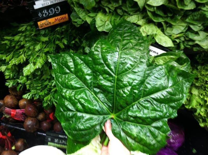 #Hawaiian #spinach (an edible hibiscus related to okra), from Lokelani Ohana Biodynamic farm in beautiful Waihe'e. Isn't it gorgeous?! (In the produce section of our #Maui store right now!)