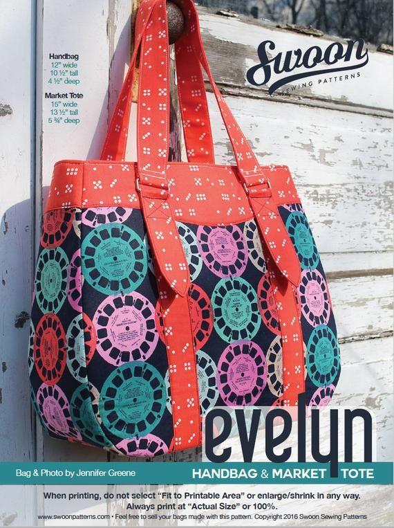 Swoon Patterns: Evelyn Tote & Handbag - PDF Tote Bag Purse Sewing Pattern