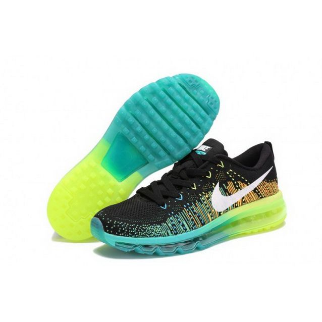 Mens Nike Flyknit Max Premium Shoes Black Green Blue