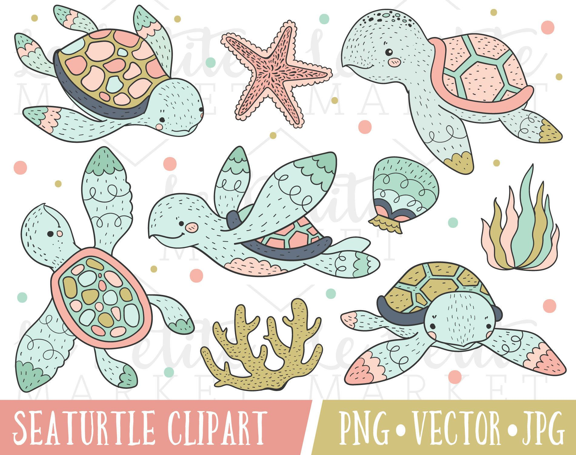 Pink Gold Sea Turtle Clipart Set Sea Turtle Clip Art Sea Etsy Clip Art Animal Portraits Illustration How To Draw Hands