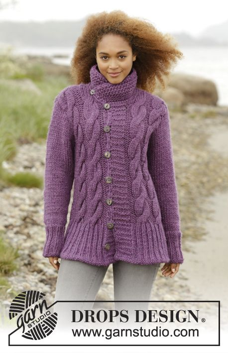 """f619e9a24 Winter Orchid   DROPS 172-39 - Knitted DROPS jacket with cables and collar  in """"Eskimo"""". Size  S - XXXL."""