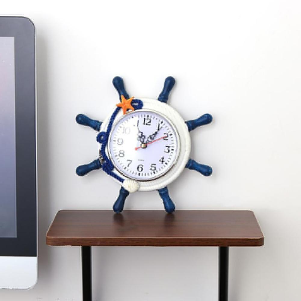 Photo of Modern Mediterranean Style Ship Wheel Wall Art Hanging Clock Home Decor Gift – Blue