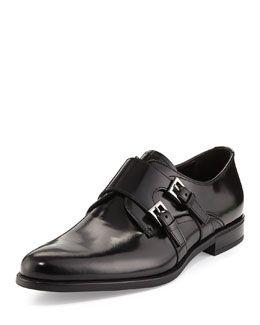 N2MRB Prada Leather Double Monk Loafer, Black