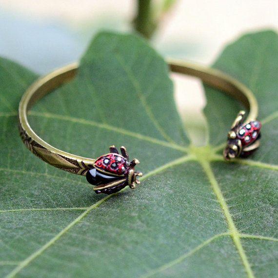 $32 - Ladybug Bracelet by ShellyCooperJewelry  etsy.com