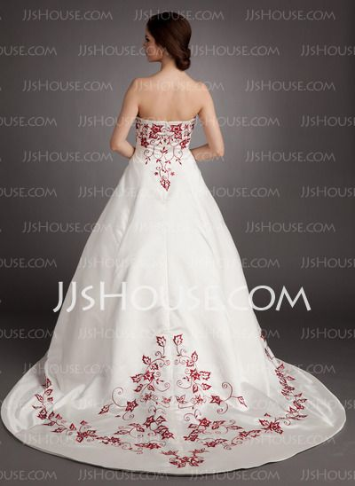 A-Line/Princess Strapless Chapel Train Satin Wedding Dresses With Embroidery (002004536)
