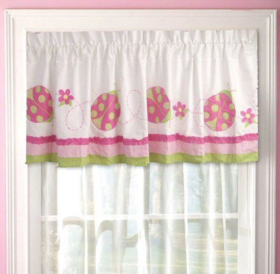 Pink Green Ladybug Ruffled Window Valance | for the house <3 ...
