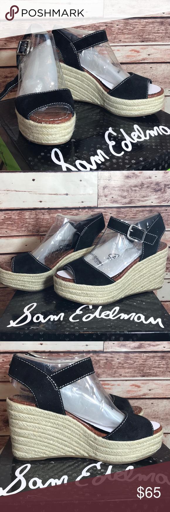 "ade5ea31ea4b4d Sam Edelman Espadrilles Dimitree Wedge Sandals NWT BRAND NEW IN THE BOX Sam  Edelman ""Dimitree"" Black Suede Size US - 7M UK - 5 EUR - 37 Heal height is  ..."