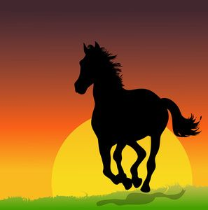 Free Horse Clip Art Image Wild Stallion Horse Running Free At Sunset In Front Of Setting Sun Horse Clip Art Free Horses Animal Clipart