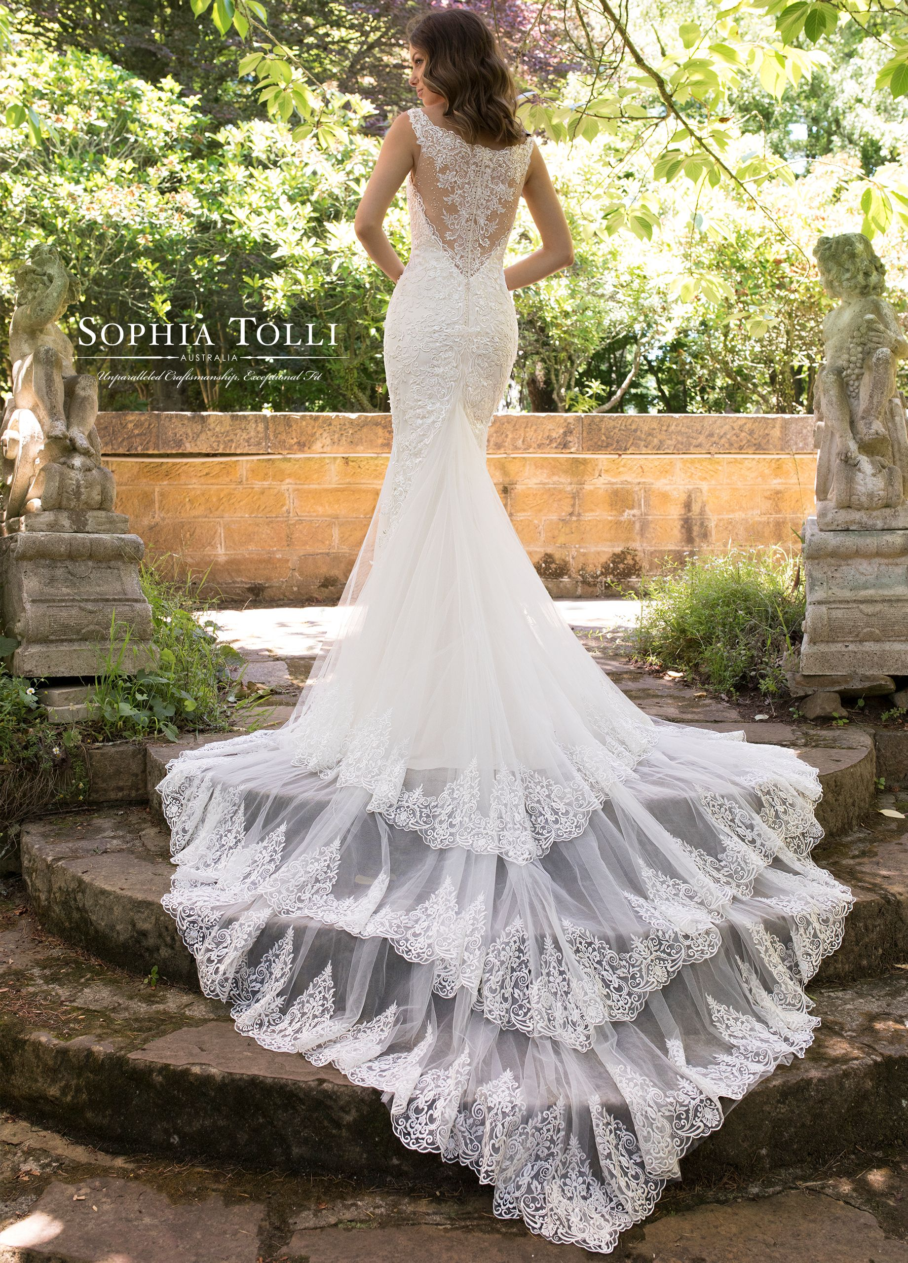 Fit and flare lace wedding dress  Incredible Soft Tulle Fit u Flare Lace Wedding Gown with a Train