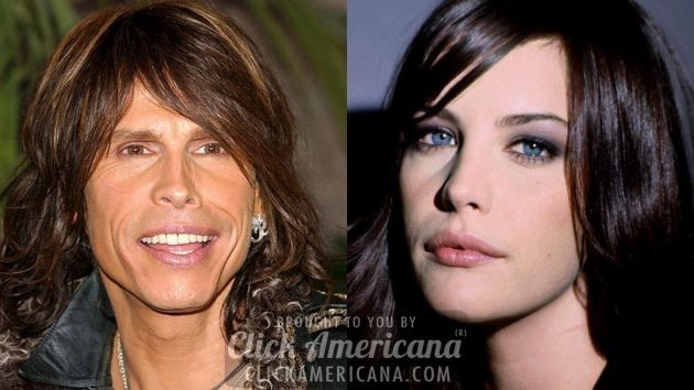 Aerosmith singer Steven Tyler (1948) and his daughter, actress Liv Tyler (1977)