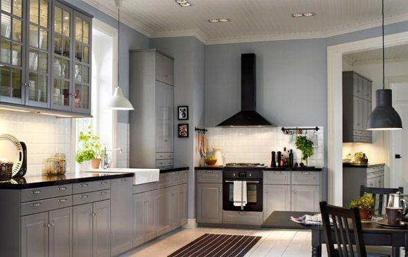 Ikea Vitrinentür ikea küchensystem metod mit bodbyn front in grau bodbyn vitrinentür