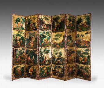 Antique A Mid 18th Century Six Fold Screen
