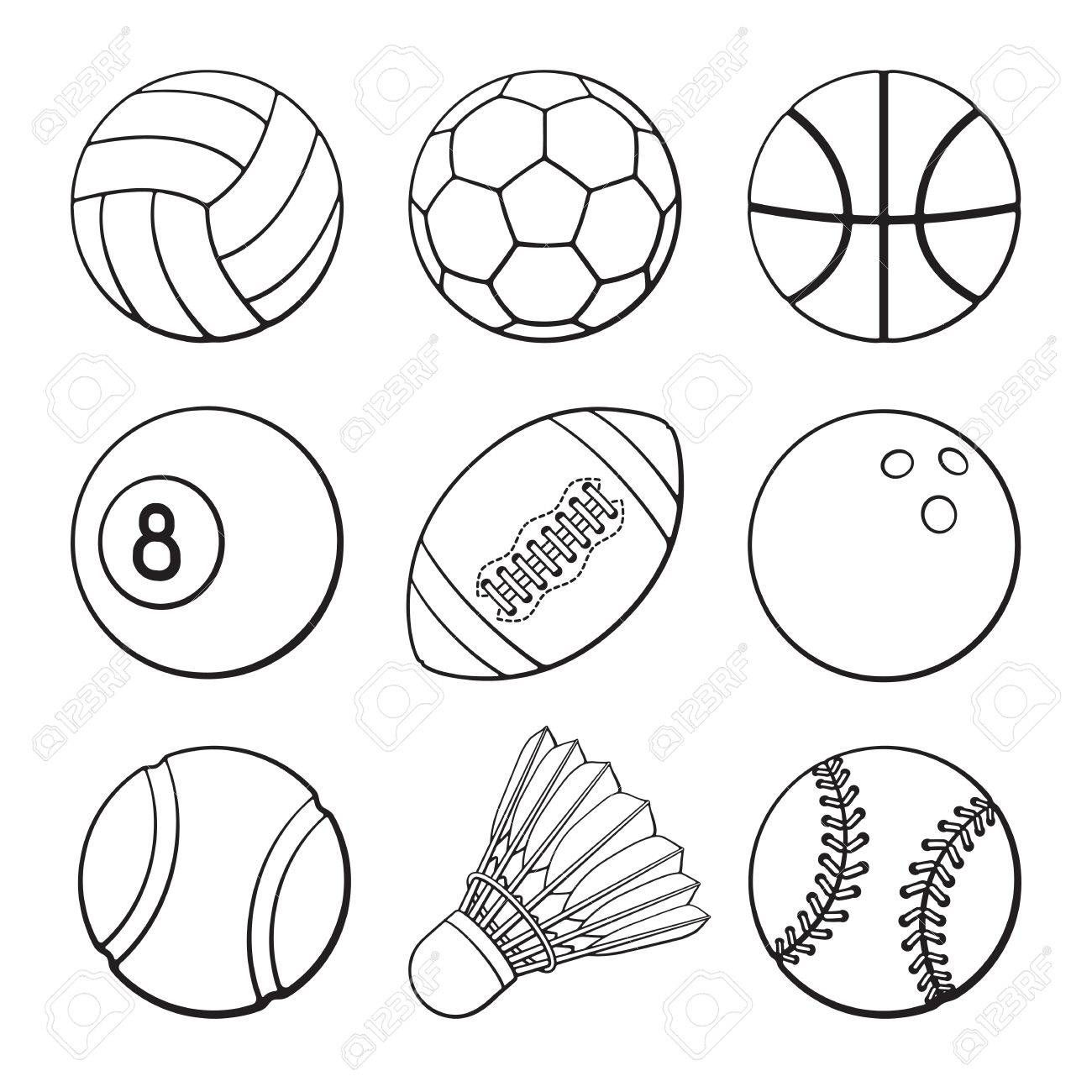 A Vector Illustration Hand Drawn Doodles Of Football Soccer Basketball Volleyball Baseball Tennis Badmin Sports Balls Cartoon Sketches How To Draw Hands