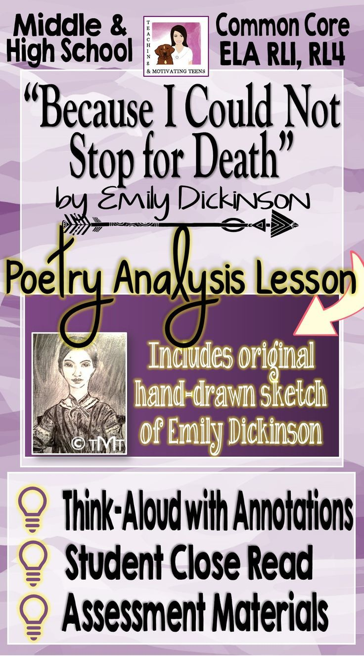 Emily Dickinson Because I Could Not Stop For Death Close Reading Think Aloud Text To Connection Poetry Lessons Paraphrase