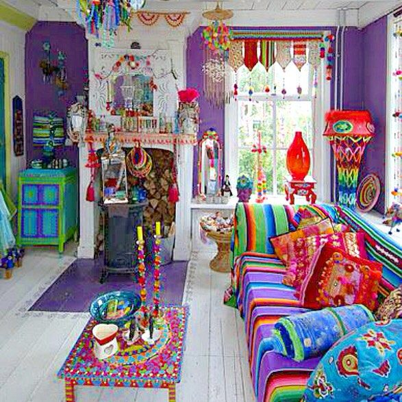 Colorful Boho Room: In Love With This Room! #colorful #boho #mexican