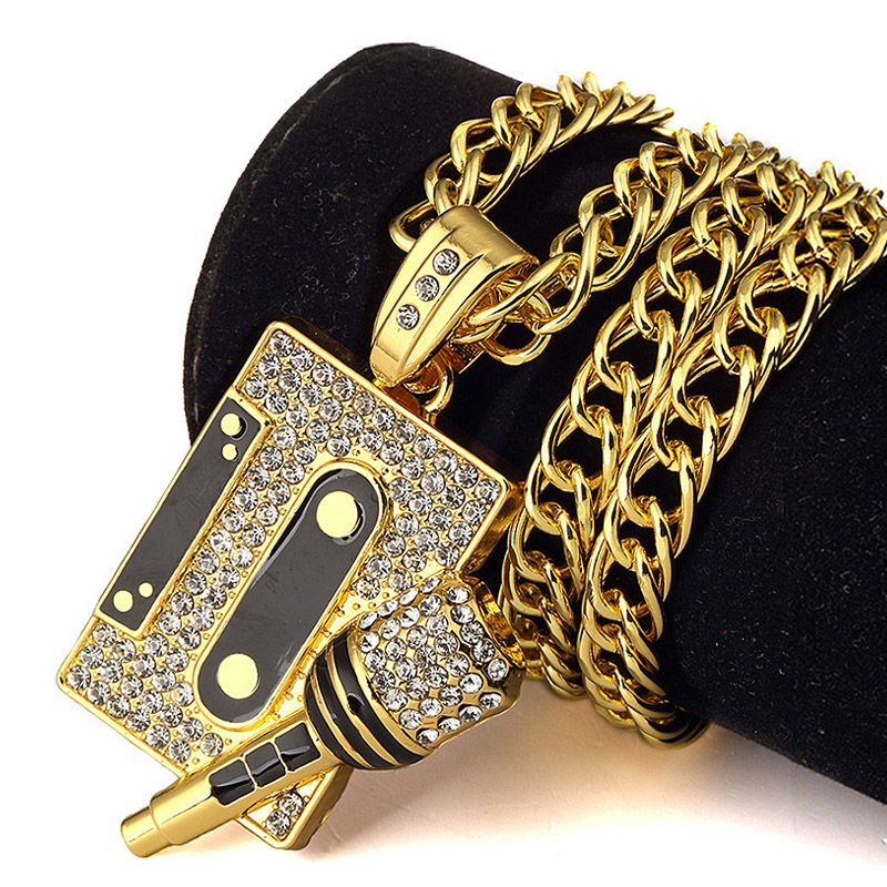 microphone pendant necklace jewelry hiphop chain