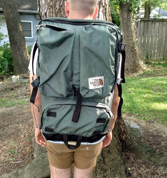 green the north face external frame backpack