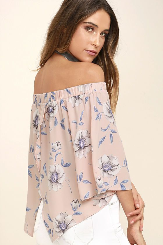 955fa0b7878 Light of Dawn Blush Pink Floral Print Off-the-Shoulder Top ...