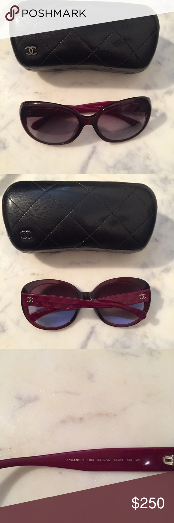 c5bac54e1872 Chanel Oval Signature Sunglasses in Deep Red Dark red frames. Standard fit.  Previously used. Quilted case with cc logo. 100% UVA and UVB protection CE.