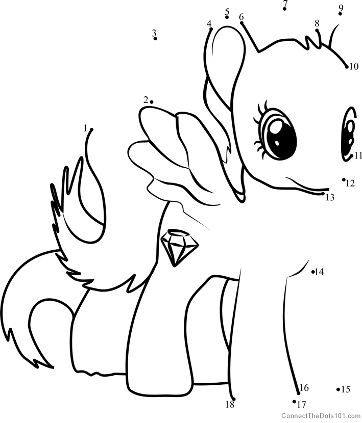 Diamond Rose My Little Pony Dot To Dot Printable Worksheet   Connect The  Dots