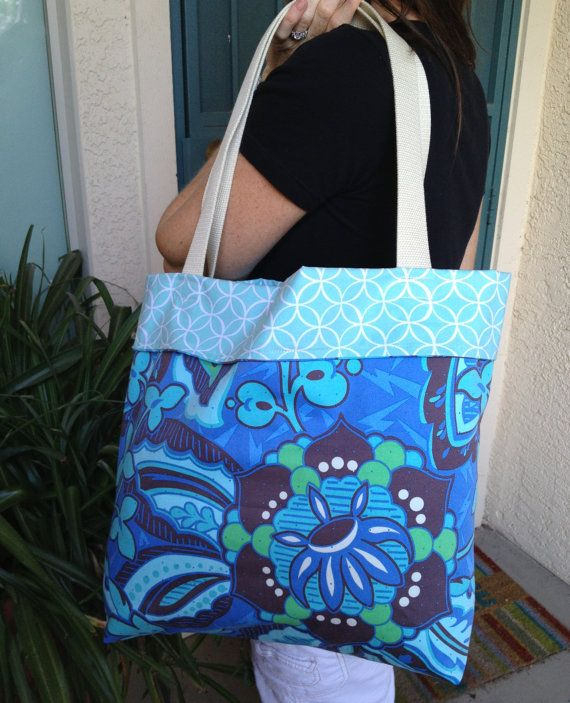 Reversible tote tote bag Carry tote Blue design by SweetMagnoleah, $25.00
