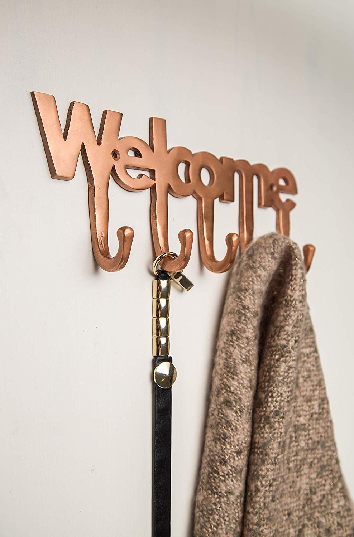 Welcome Copper Key Holder Modern Key Holder For Wall 5 Metal Key Hooks Mounted Key Hanger Key Org Wall Key Holder Mail And Key Holder Modern Key Holder