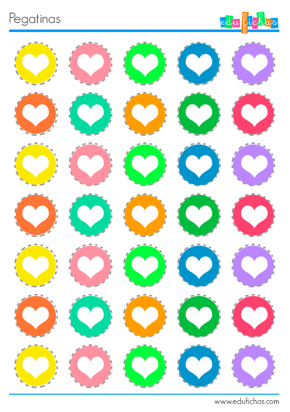 Pegatinas de corazones de colores pegatinas pinterest for Pegatinas decorativas infantiles