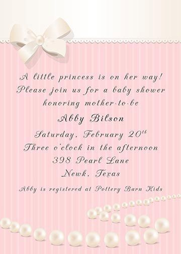 Pearls Bow and Lace Baby Shower Bridal Shower Invitation - choose - how to word a baby shower invitation