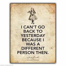 METAL SIGN WALL PLAQUE Alice in Wonderland Lewis Carroll Quote art    eBay