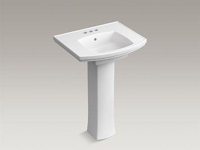 Kohler K R6376 4 0 Elliston Pedestal Bathroom Sink With Centerset Faucet Holes