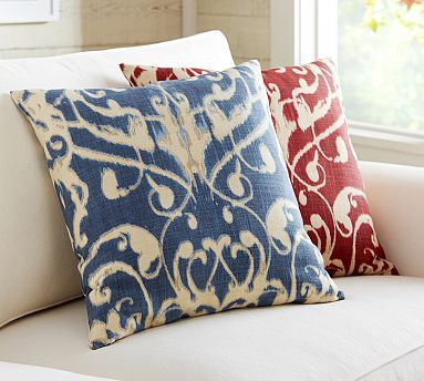 anza ikat pillow cover potterybarn red 20x20 bench navy throw
