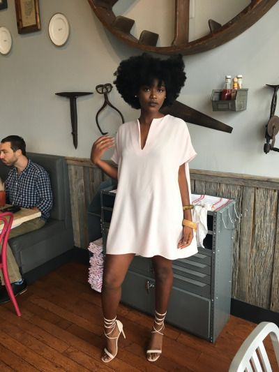 I wear my natural hair out like this often. I love the color and style of this dress! | Love ...