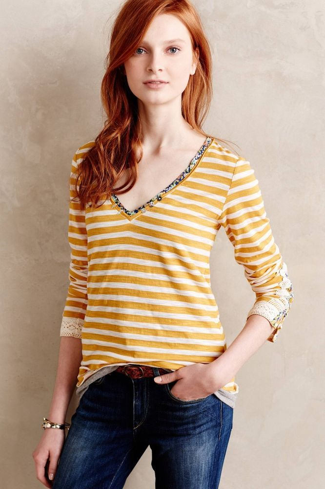 Anthropologie LITTLE YELLOW BUTTON Lata Tee Top T Shirt Striped Large NWOT New #Anthropologie #Blouse #Casual