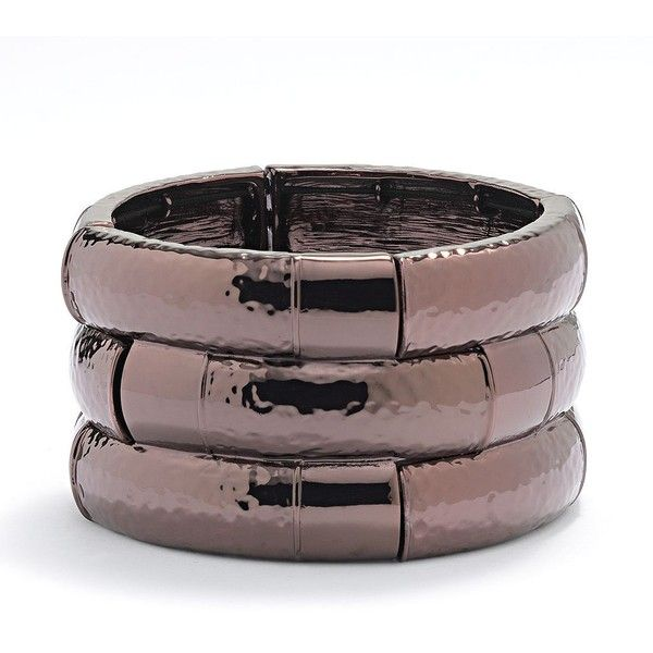 Dana Buchman Chocolate Brown Hammered Stretch Cuff Bracelet ($24) ❤ liked on Polyvore