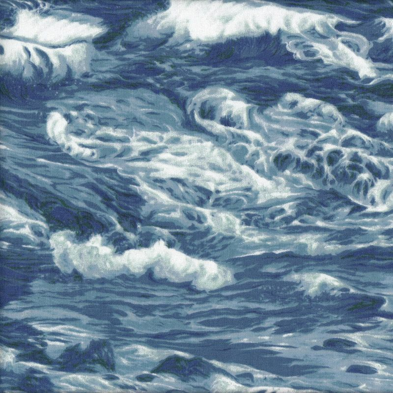 Ocean Waves Water Sea Surf Nature Landscape Quilt Fabric - Find a Fabric. Available to purchase in Fat Quarters, Half Metre, 3/4 Metre, 1 Metre and so on.