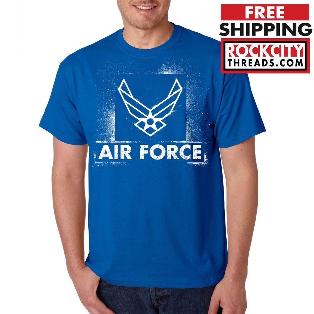 AIR FORCE STENCIL TSHIRT Blue USAF US U.S Logo Wings USA