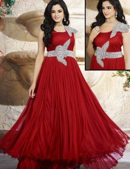 421e4cf73a Heart Touching Red Net Stone And Moti Work Designer Anarkali Gown ...