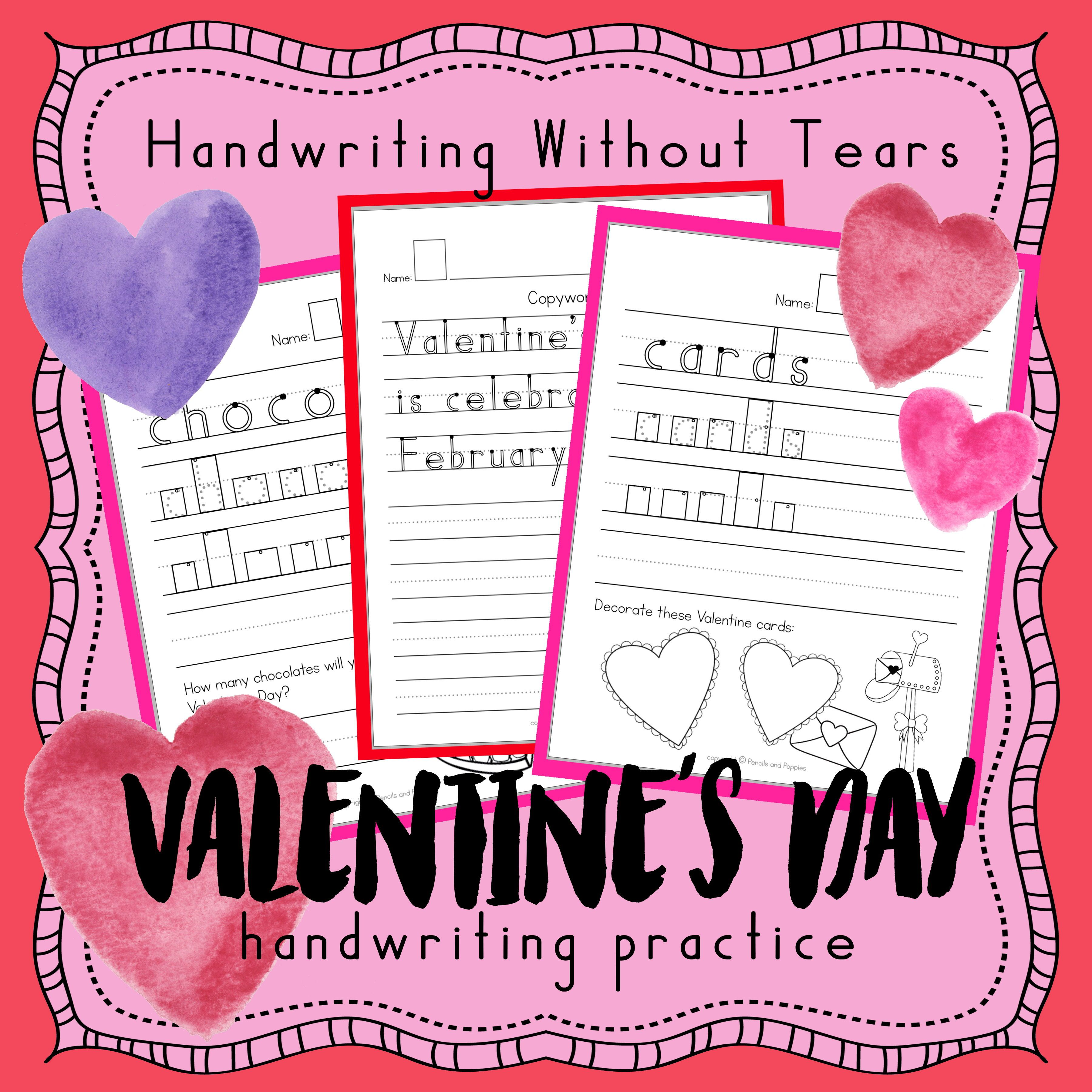Valentine S Day Writing Handwriting Practice Sheets
