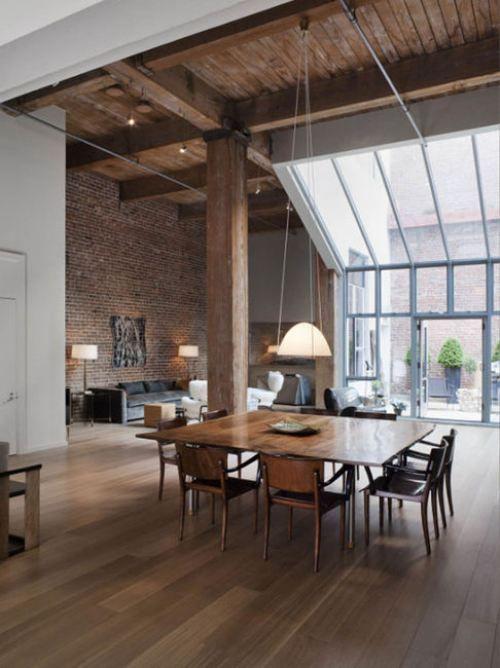 Salon bois Arch Pinterest La brique, Grands espaces et Verrière