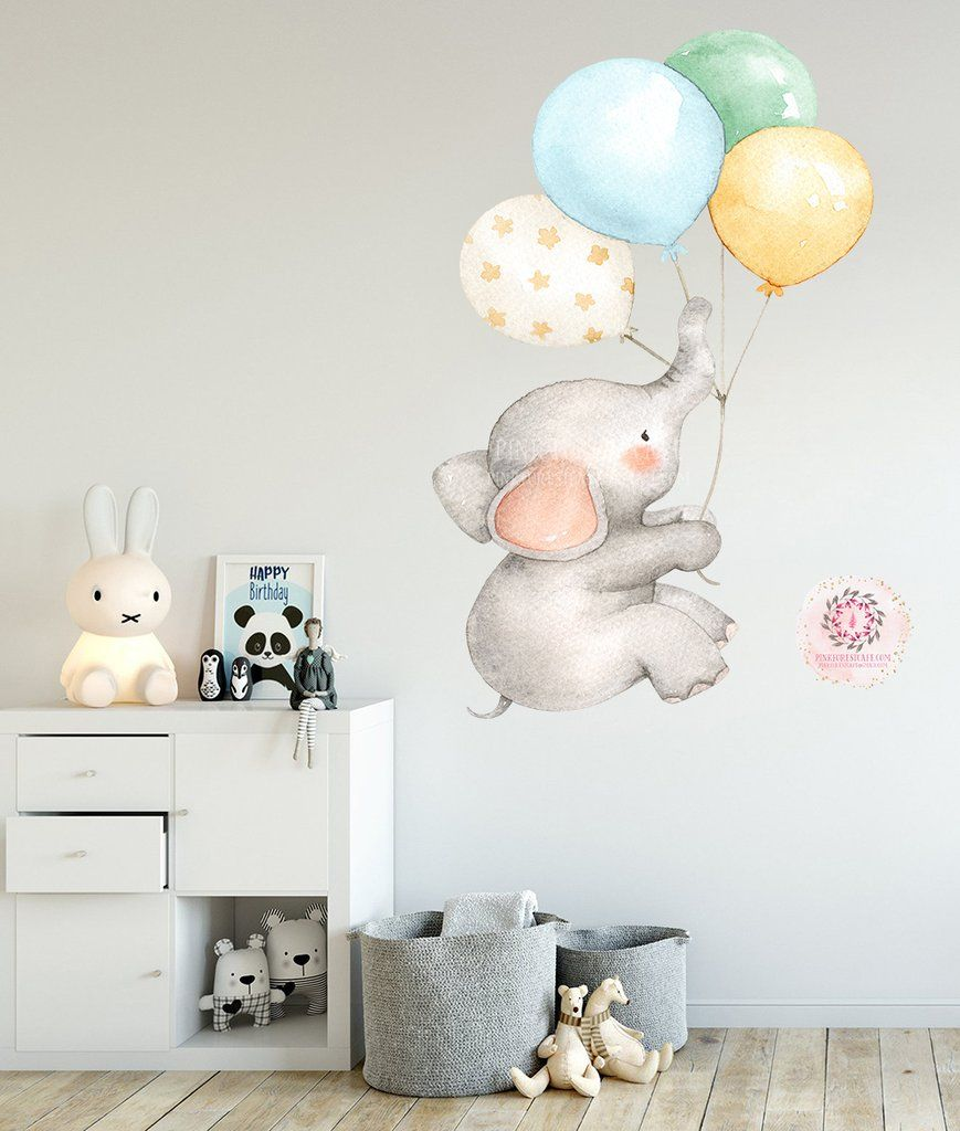 Elephant Balloons Watercolor Wall Decal Sticker Baby Nursery Art