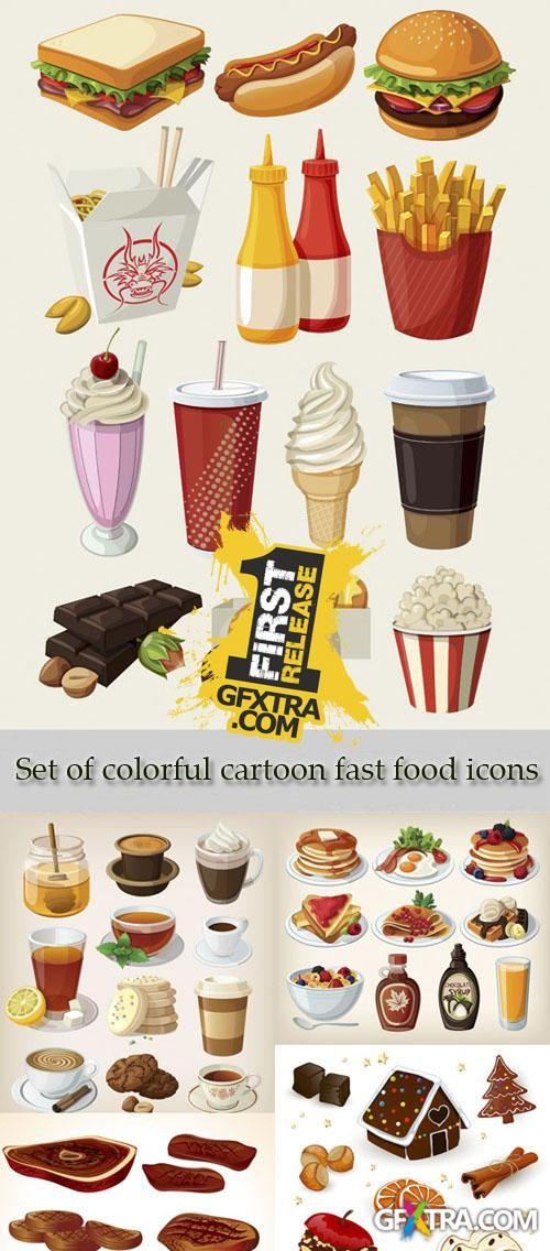 Stock Photo: Set of colorful cartoon fast food icons