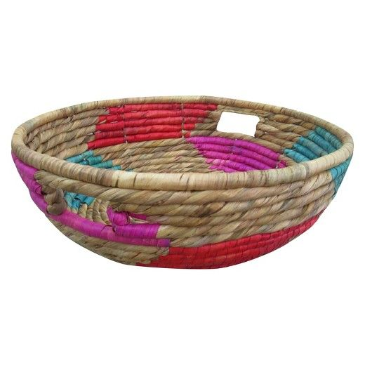 Mix naturals with fun colors in the Pink Short Woven Basket from Threshold. This large woven basket can be used as decoration or filled with oranges or other seasonal fruit for display.