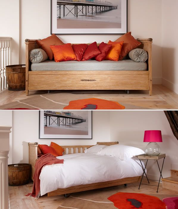 Designed With Straight Sides And A Slatted Back Intricate Detailing On The Arms Pull Out Poitiers Double Sofa Bed Transforms Into